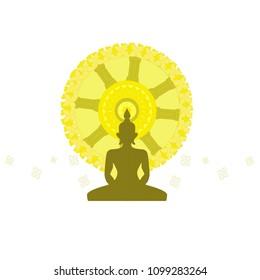 Bhudda and Dharma wheel , Budhism vector illustration symbol.