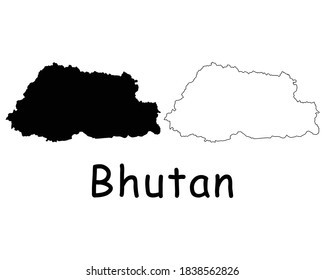Bhutan Country Map. Black silhouette and outline isolated on white background. EPS Vector