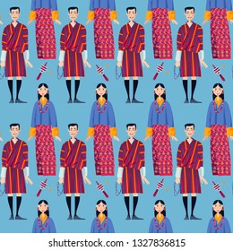 Bhutan. Couple in traditional national clothes. Seamless background pattern. Vector illustration
