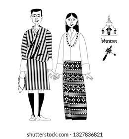 Bhutan. Couple in traditional national clothes. Black and white. Vector illustration.