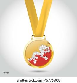 Bhutan Flag in gold Medal. Vector Illustration. RIO Olympic Game gold Medal. Vector Illustration