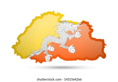 Bhutan flag and outline of the country on a white background. Vector illustration.