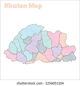 Bhutan hand-drawn map. Colourful sketchy country outline. Comely Bhutan map with provinces. Vector illustration.