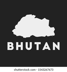 Bhutan icon. Country map on dark background. Stylish Bhutan map with country name. Vector illustration.