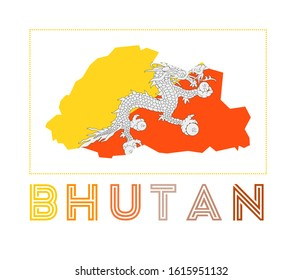 Bhutan Logo. Map of Bhutan with country name and flag. Artistic vector illustration.