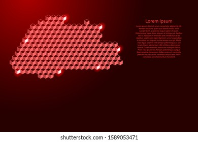 Bhutan map from 3D red cubes isometric abstract concept, square pattern, angular geometric shape, for banner, poster. Vector illustration.