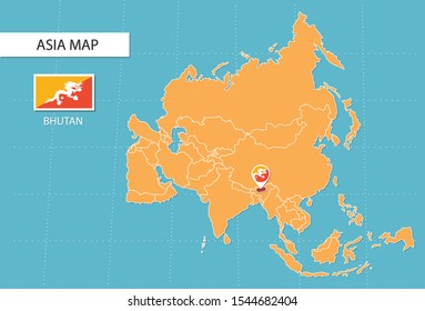 Bhutan map in Asia, icons showing Bhutan location and flags.