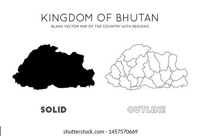 Bhutan map. Blank vector map of the Country with regions. Borders of Bhutan for your infographic. Vector illustration.
