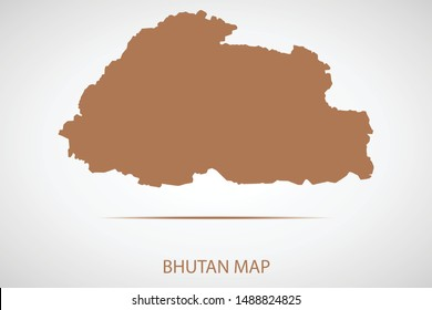 Bhutan map, brown color and country name. Map of Asia. Vector map on gray background. Symbol for your web site design map logo. app, ui, Travel vector eps10, concept Illustration.