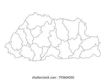 bhutan map with country borders, thin black outline on white background. High detailed vector map with counties/regions/states - bhutan. contour, shape, outline, on white.