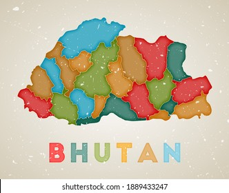 Bhutan map. Country poster with colored regions. Old grunge texture. Vector illustration of Bhutan with country name.
