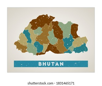 Bhutan map. Country poster with regions. Old grunge texture. Shape of Bhutan with country name. Captivating vector illustration.