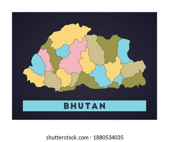 Bhutan map. Country poster with regions. Shape of Bhutan with country name. Captivating vector illustration.