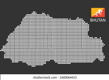 Bhutan map design white square, black background with flag Bhutan.