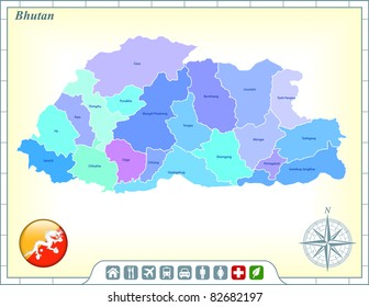 Bhutan Map with Flag Buttons and Assistance & Activates Icons Original Illustration