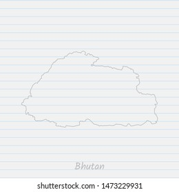 Bhutan map hand drawn gray outline on notebook background. Vector Illustration EPS10.