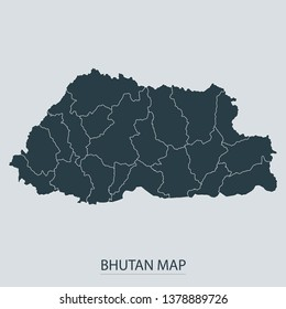 Bhutan map on gray background vector, Bhutan Map Outline Shape Gray on White Vector Illustration, Map with name. High detailed Gray illustration map Bhutan.