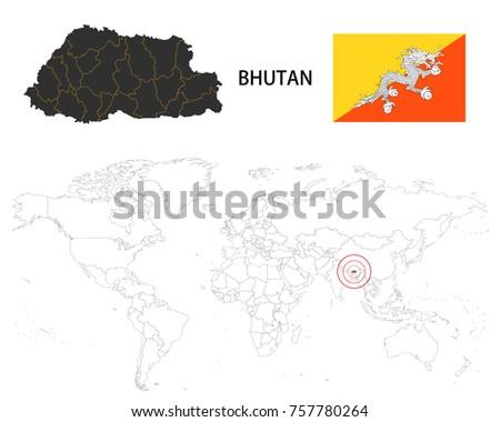 World Map Bhutan.Bhutan Map On World Map Flag Stock Vector Royalty Free 757780264