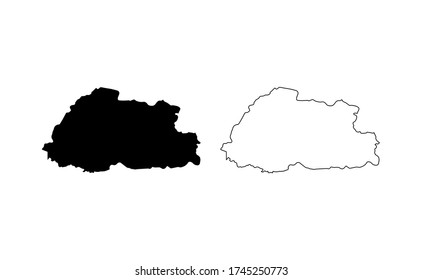 Bhutan map silhouette line country Asia map illustration vector outline Asian isolated on white background