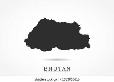 Bhutan Map - World Map International vector template isolated on white background - Vector illustration eps 10