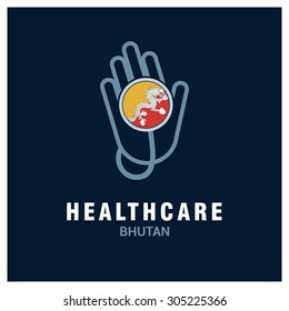 Bhutan National flag on stethoscope - Health care logo - Medical Logo - specialist doctors in Country - Hospital Clinic Logo - Helping Hand Logo - Charity Help Vector illustration