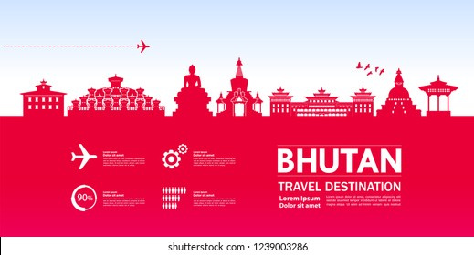 Bhutan travel destination vector.