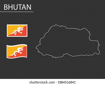 Bhutan vector map line style, flag icon of two different shapes, waving flag, rectangle flag. On the black background.