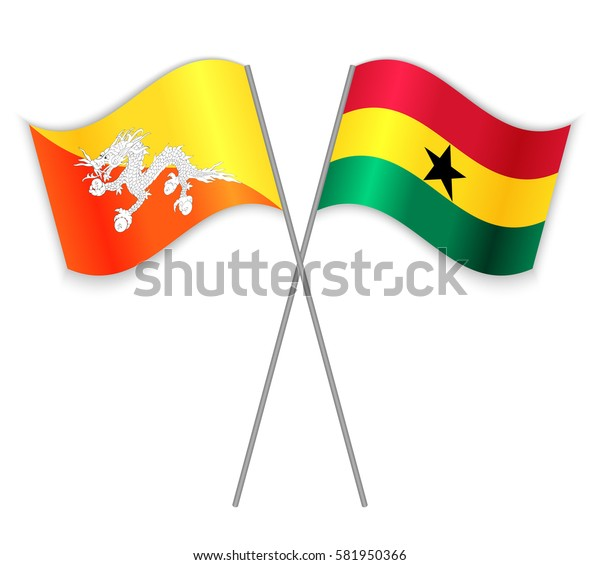 Bhutanese and Ghanaian crossed flags. Bhutan combined with Ghana isolated on white. Language learning, international business or travel concept.