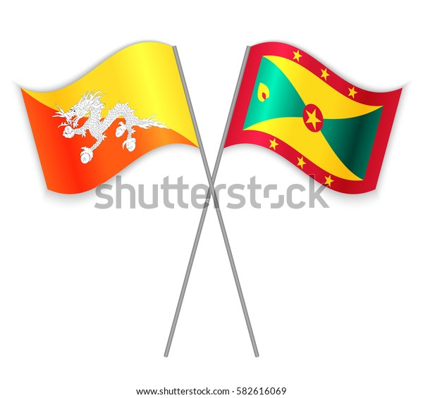 Bhutanese and Grenadian crossed flags. Bhutan combined with Grenada isolated on white. Language learning, international business or travel concept.