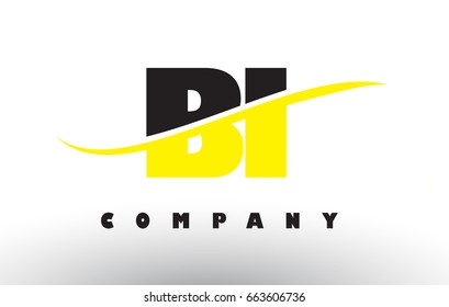 BI B I  Black and Yellow Letter Logo with White Swoosh and Curved Lines.