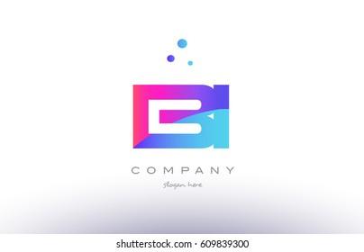 bi b i  creative pink purple blue modern dots creative alphabet gradient company letter logo design vector icon template