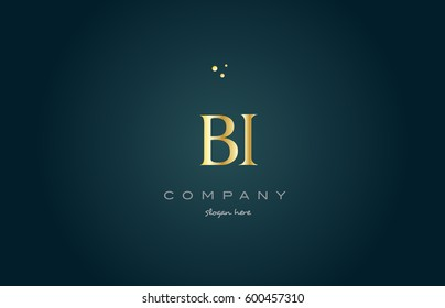 bi b i  gold golden luxury product metal metallic alphabet company letter logo design vector icon template green background