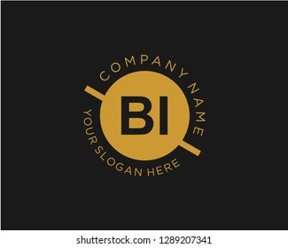 BI B I Initial logo letter with minimalist concept vector