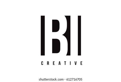BI B I White Letter Logo Design with Black Square Vector Illustration Template.