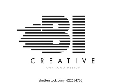 BI B I Zebra Letter Logo Design with Black and White Stripes Vector