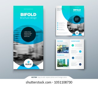 Bi fold brochure design. Blue business template for two fold flyer. Layout with modern circle photo and abstract background. Creative 2 fold flyer or brochure concept.