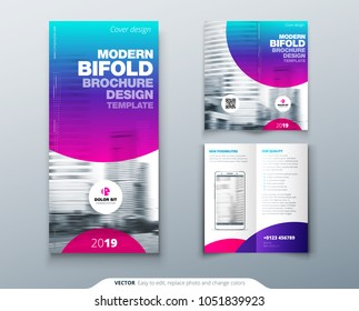 Bi fold brochure design. Cool business template for Bi fold flyer. Layout with modern circle photo and abstract background. Creative 2 fold flyer or brochure concept.