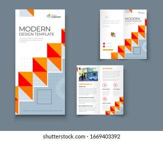 Bi fold brochure design with line shapes, corporate business template for bi fold flyer. Creative concept folded flyer or brochure.