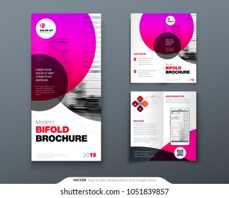 Bi fold brochure design. Pink business template for Bi fold flyer. Layout with modern circle photo and abstract background. Creative 2 fold flyer or brochure concept.