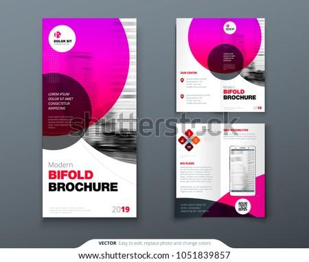 Bi Fold Brochure Design Pink Business Stock Vector Royalty Free