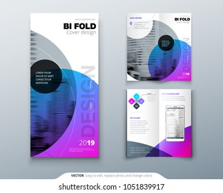 Bi fold brochure design. Purple corporate business template for bi fold flyer. Layout with modern circle photo and abstract background. Creative concept two folded flyer or brochure.