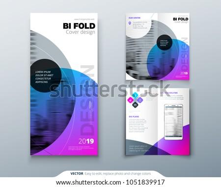 bi fold brochure design purple corporate stock vector royalty free