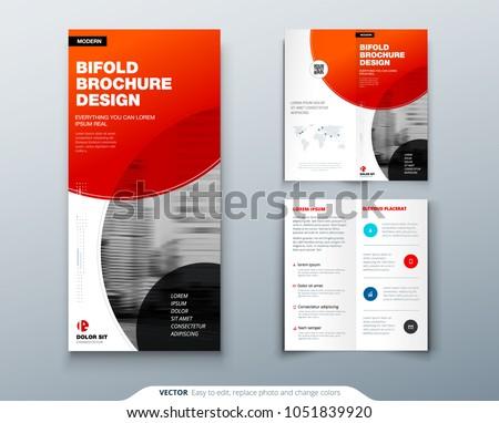 bi fold brochure design red business stock vector royalty free