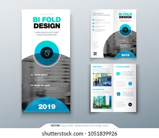 Bi fold brochure flyer design. Business template for Bi fold flyer with modern circle photo and abstract background Creative two folded flyer or brochure concept.