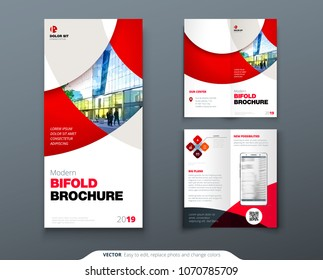 Bi fold brochure or flyer design with circle. Creative concept flyer or brochure.