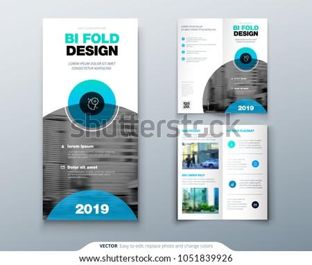 bi fold brochure flyer design business stock vector royalty free