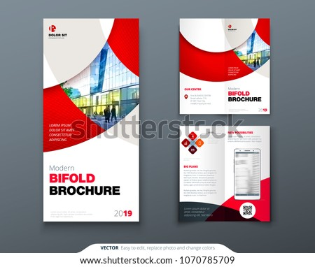 bi fold brochure flyer design circle stock vector royalty free