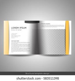 Bi fold square business or educational brochure template design. Stock vector.