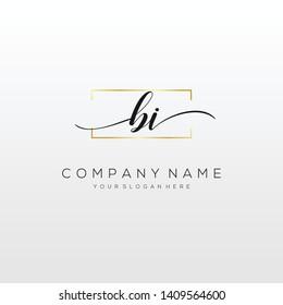 BI handwriting initial logo template vector.