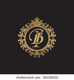BI initial luxury ornament monogram logo